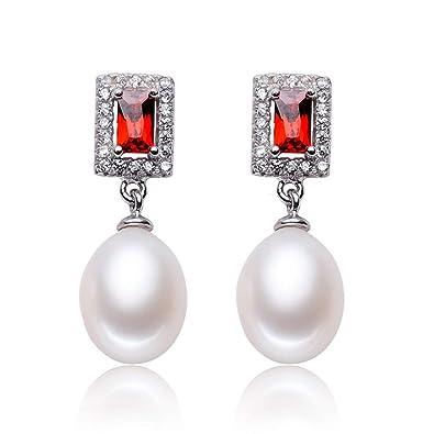 51f8d4a8eb19 Ritzo by M ~ Pendientes de perla gota perlas auténticas de color blanco con  relucientes circonitas