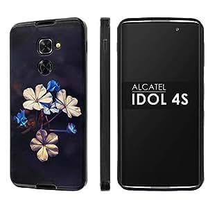 alcatel idol 4s slickcandy black slim fit gummy tpu phone case flower bloom. Black Bedroom Furniture Sets. Home Design Ideas