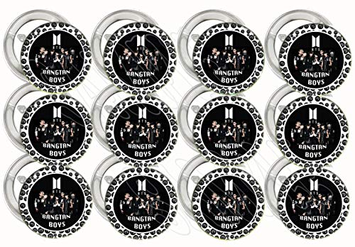 "- BTS Buttons Bangtan Boys K-pop Party Favors Supplies Decorations Collectible Metal Pinback Buttons Pins, Large 2.25"" -12 pcs, South Korean Boy Band Jin Suga J-Hope RM Jimin V Jungkook"