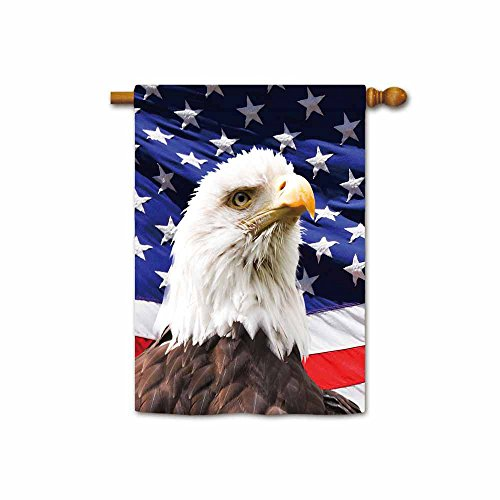KafePross Bald Eagle with American Flag House Flags 28