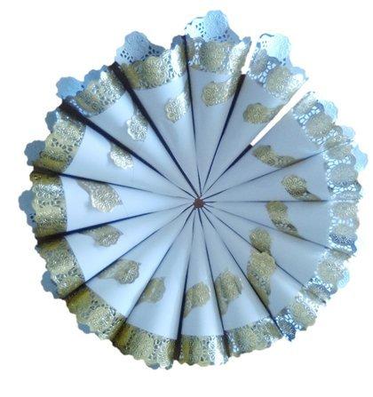 p/étalos 25 Cucuruchos Deluxe Oro-Blanco para arroz detalles