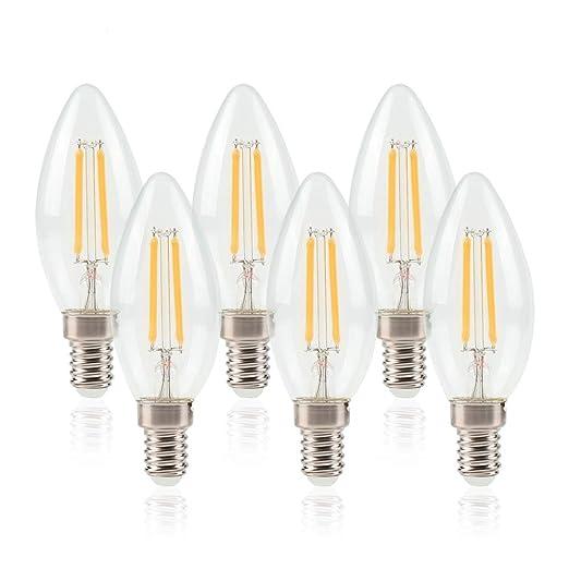 Bombilla LED E14 de Filamento Edison 6W Equivalente a 50W Blanco Cálido 550 Lúmenes Pack de