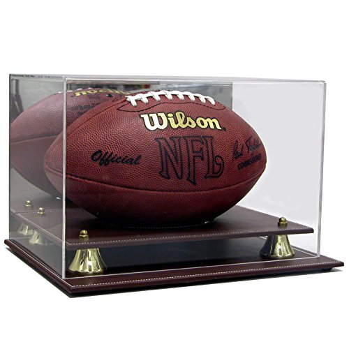 SAFTGARD SUPPLIES Executive Acrylic Brown Leather Base Football Display Case w/Mirror Back and Gold Risers