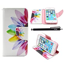 iPhone SE Case, iPhone 5S Case Wallet, iYCK Premium PU Leather Flip Carrying Magnetic Closure Protective Shell Wallet Case Cover for iPhone 5/5S/SE/5SE with Kickstand Stand - Colorful Flower
