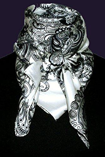 100/x 100/cm/ in seta nero argento e bianco /Foulard da donna in 100/% seta/ Lorenzo Cana/ /89005 /Motivo barocco