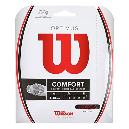 Wilson Optimus Tennis String, Red, 16-Gauge Comfort Tennis String