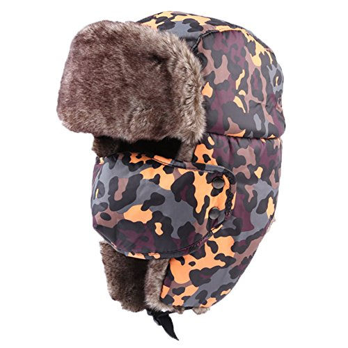 L'asher Women Winter Warm Russian Style Snowboard Bomber Hat Cap w/ Ear Flap (Orange+Purple)