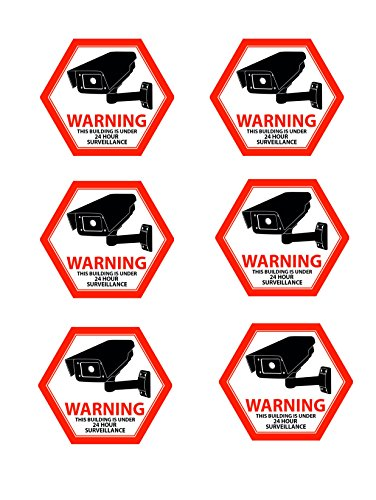 Mandala Crafts Home Business CCTV Surveillance Security Camera Video Warning Sticker Sign (Front Adhesive Red)