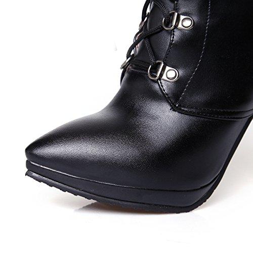 Ankle Womens Boots Platform Heels Lace up High Pumps Pointed Toe Black AIWEIYi Roman Style PqdUB6w7w