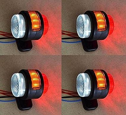 4/pcs lateral trasera Outline Marcador luces 24/V 12/V remolque cami/ón caravana Chasis Autocaravana Naranja Blanco Rojo