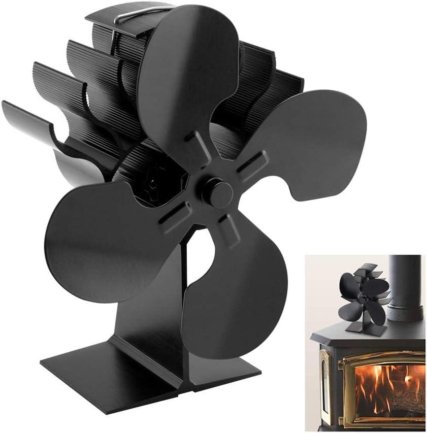 NOBLJX Ventilador de Estufa de Chimenea de leña de 4 Palas, Aluminio anodizado Funcionamiento Ultra silencioso Estufa de Calor y Ventilador de Chimenea de leña, ecológico, distribución de Calor
