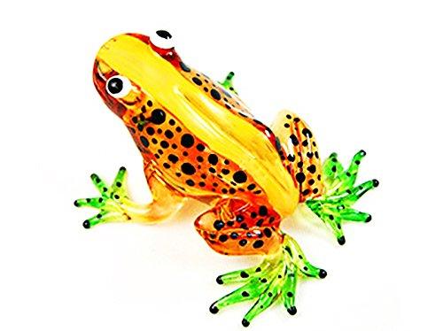 Lampwork COLLECTIBLE MINIATURE HAND BLOWN Art GLASS New Light Brown Frog ()