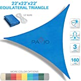Patio Paradise 22' x22'x 22' Blue Sun Shade Sail Triangle Canopy - Permeable UV Block Fabric Durable Outdoor - Customized Available