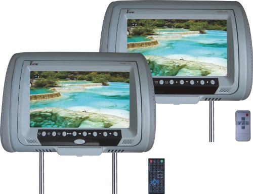 Tview T939DVPL-GR Car Headrest Monitor with DVD Player - Grey