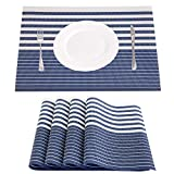 NJCharms Placemats Set of 4, Heat Resistant Washable Nautical Blue Placemats for Dining Kitchen Table Environmental PVC Wipeable Crossweave Vinyl Woven Placemats Table Mats Easy to Clean, Navy Blue