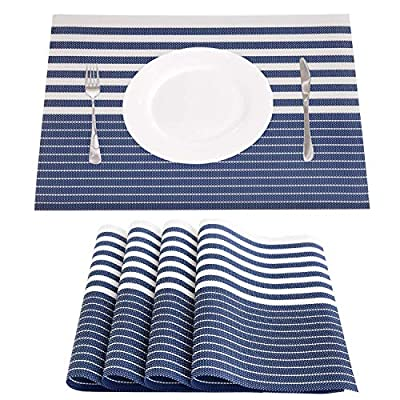 NJCharms Placemats Set of 4, Heat Resistant Washable Nautical Blue Placemats for Dining Kitchen Table Environmental PVC… -  - placemats, kitchen-dining-room-table-linens, kitchen-dining-room - 51jtBlpwHXL. SS400  -