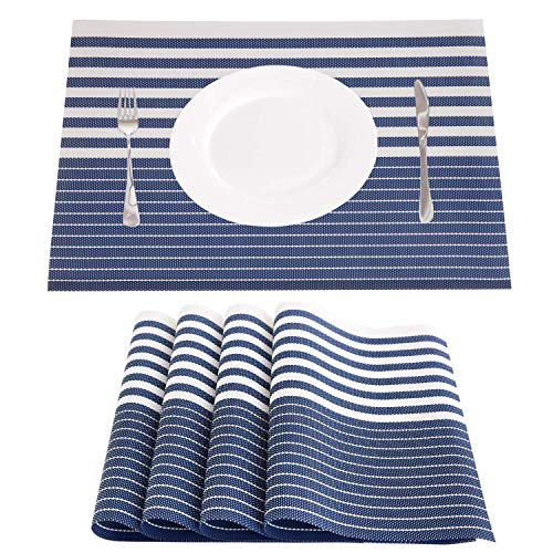 NJCharms Placemats Set of 4, Heat Resistant Washable Nautical Blue Placemats for Dining Kitchen Table Environmental PVC Wipeable Crossweave Vinyl Woven Placemats Table Mats Easy to Clean, Navy Blue by NJCharms