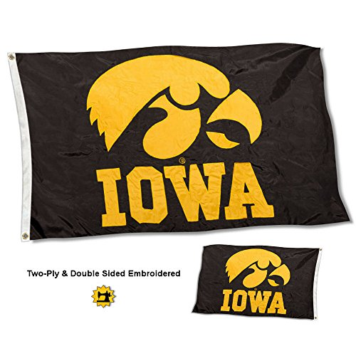 College Flags and Banners Co. Iowa Hawkeyes Double Sided Nylon Embroidered Flag - Banner Eyes