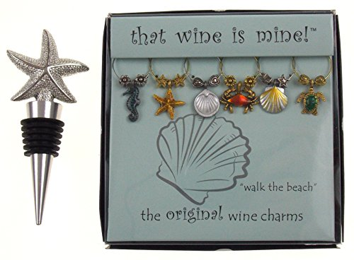 Wine Bottle Design Stopper Sea - Starfish Wine Bottle Stopper & Beach Themed Wine Charm Gift Set Bundle