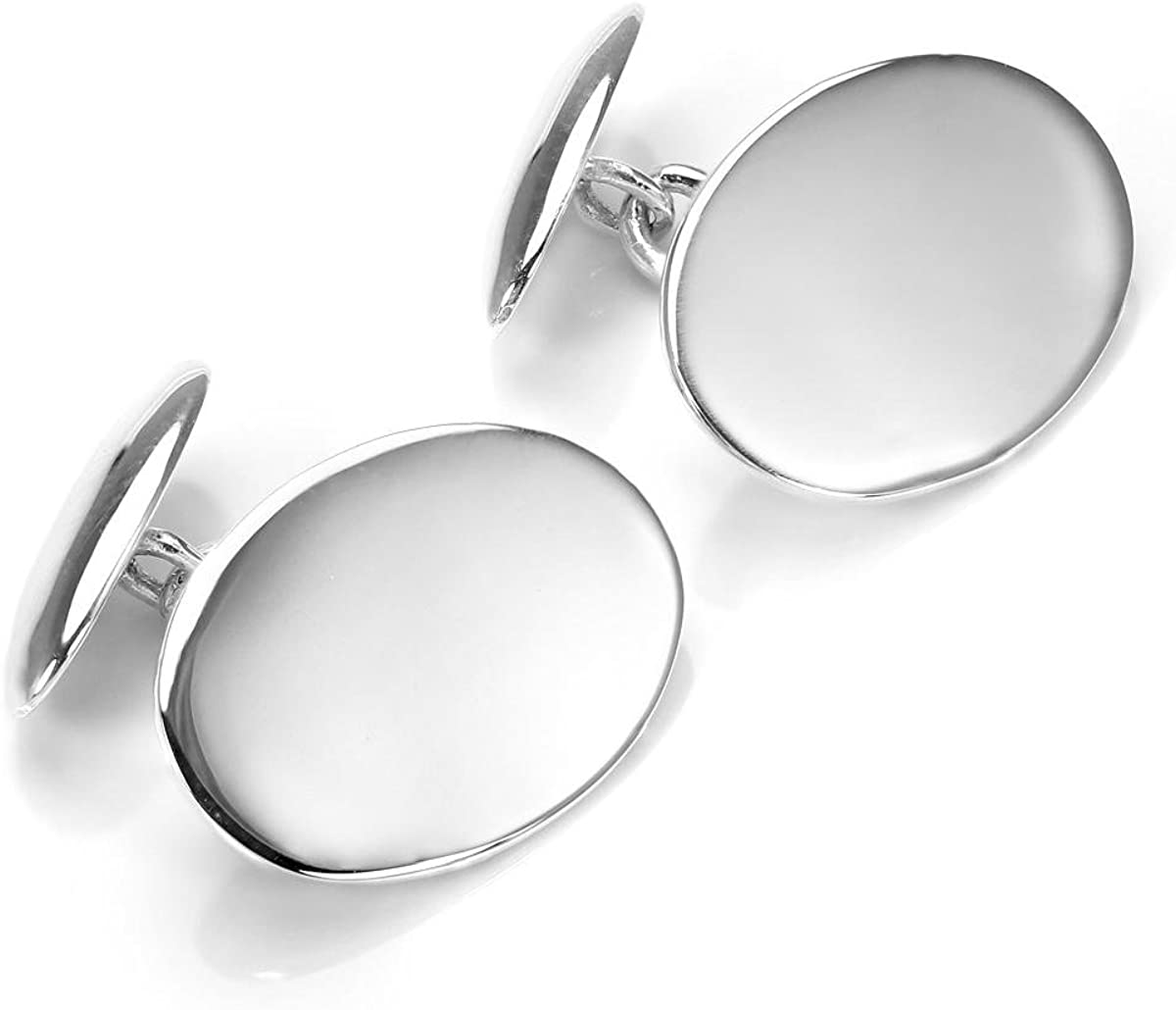 Sterling Silver Oval Chain Cufflinks