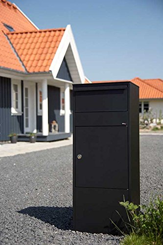 Qualarc ALX -800-BK Allux Galvanized Steel Locking Mail Parcel Box, Black by Qualarc