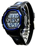 Kids Sport LCD Digital Electrical Luminescent Waterproof Boys/Girls Wrist Watch with Stopwatch and Silicone Band Sports Watch Gift for 5-12 Years Old (Black Blue)