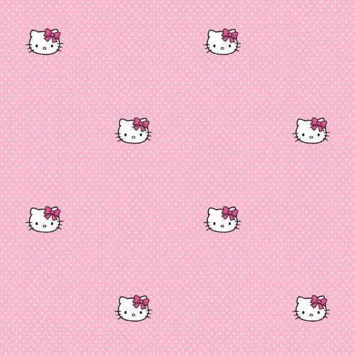 (Kids@homeIII Children's Paper Wallpaper Hello Kitty Pink Polka Dots Collection)