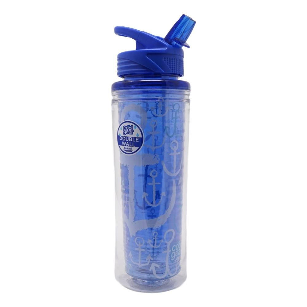 Cool Gear Insulated Water Bottle 20 oz Blue Anchors