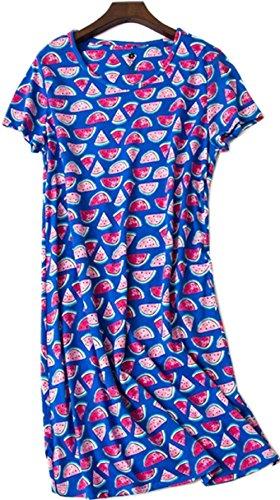 (Women's Nightgown Cotton Sleep Tee Nightshirt Casual Print Sleepwear Lucky06-Blue)