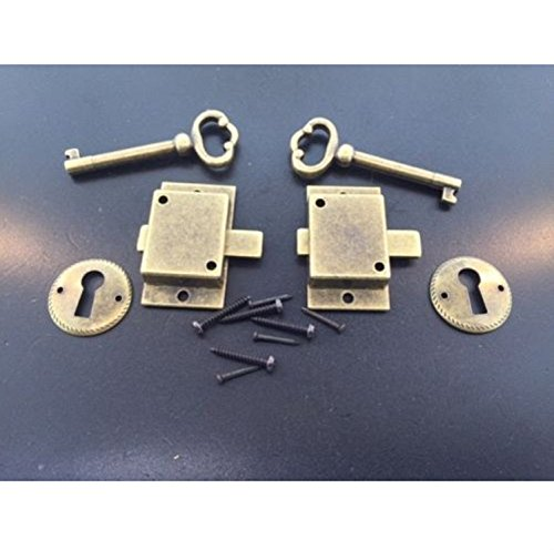 LIKE SHOP 2 Curio Cabinet Front Door key and Lock Set in Antique Finish