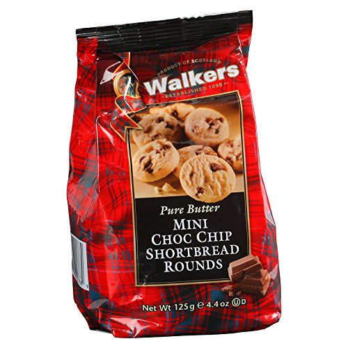 Walkers, Pure Butter, Mini Choc Chip Shortbread Rounds, net weight 125 g (Pack of 1 piece) Choc Shortbread