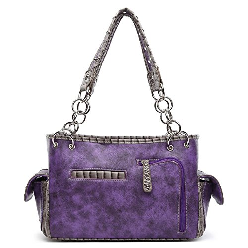 Wallet Alligator Cross Bags Handbags Purses Wings Western Purple Concealed Set Women Carry Skin Shoulder RwwPqB
