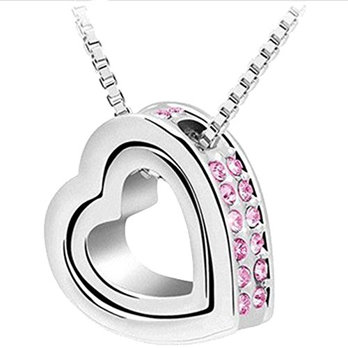 KORPIKUS Metal Jewelled Rhinestone Double Hearts Necklace Pendant In FREE Designer Gift Bag - (PINK - Bag Jeweled Heart