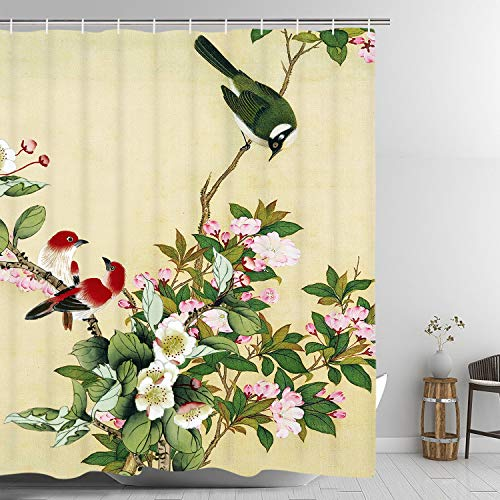 Birds Watercolor Shower Curtain