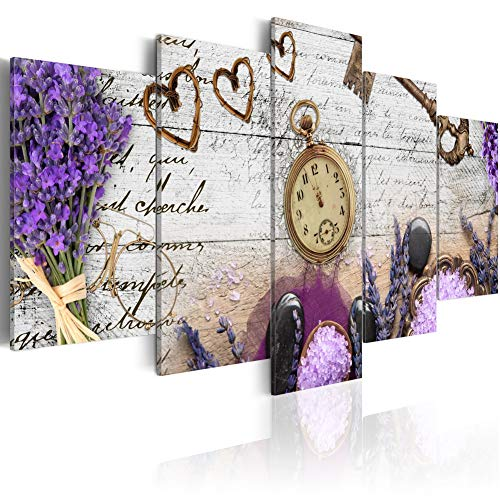 - Heather Composition Sweetheart Abstract Canvas Print 5 Panel Modern Purple Wall Art Painting