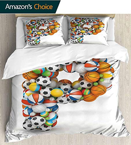 shirlyhome Letter P Cotton Bedding Sets,Conceptual Typography Design Alphabet and Sports Theme Font Type with Many Balls Bedding Set for Teen 3PCS 79