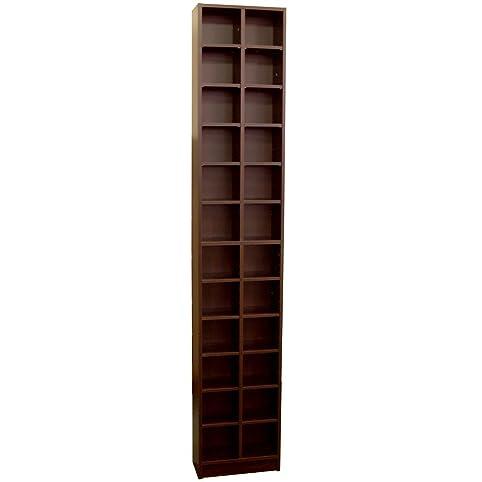 BLOCK   Tall Sleek 360 CD / 160 DVD Media Storage Tower Shelves   Dark Oak