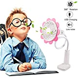 Baby Stroller Cooling Fans USB Battery Operated Clip Fan Bendable Portable Rechargeable Mini Desk Fan USB Fan Sun Flower Fan 360 Degree Adjustable Wind Speed Personal Clip Desk Fan