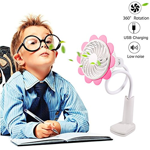 Baby Stroller Cooling Fans USB Battery Operated Clip Fan Bendable Portable Rechargeable Mini Desk Fan USB Fan Sun Flower Fan 360 Degree Adjustable Wind Speed Personal Clip Desk Fan by KOSMIK