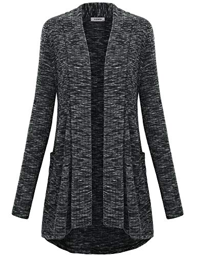 Cardigan Tunic Collar (JCZHWQU Open Cardigans for Women, Ladies Tops Draped Neck Long Sleeve Open Front Hi Low Cascading Boyfriend Cardigan Sweater with Side Pockets Home Lounge Wear Black L)