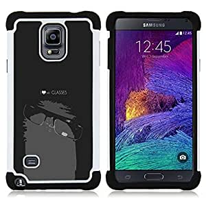 BullDog Case - FOR/Samsung Galaxy Note 4 SM-N910 N910 / - / cool funny nerd geek black white glasses love school /- H??brido Heavy Duty caja del tel??fono protector din??mico - silicona suave