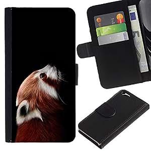 "Apple (4.7 inches!!!) iPhone 6 , la tarjeta de Crédito Slots PU Funda de cuero Monedero caso cubierta de piel ("" Little Red Panda Bear Cute Face Portrait Animal"")"