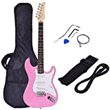 """Costzon 39"""" Electric Guitar, Full Size Guitar with Case and Accessories Pack for Beginner Starter (Pink)"""