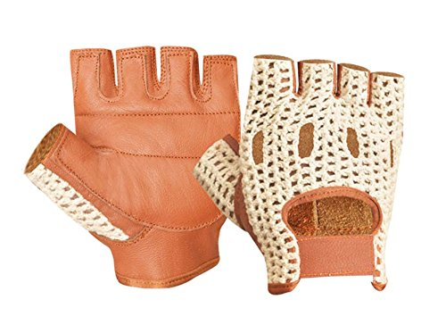 - Kango Fitness Real Soft Leather Mesh Net Fingerless Driving Weight Training Cycling Wheelchair Gloves W-1037 (X-Large)