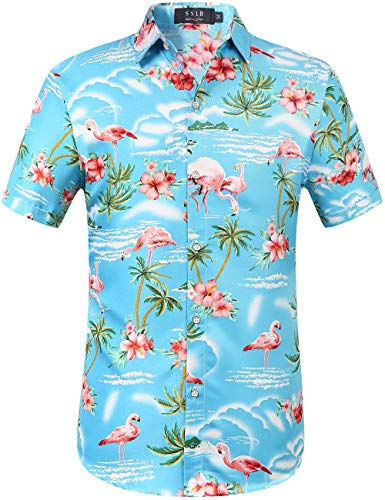 Hawaiian Party Shirts (SSLR Men's Flamingos Casual Short Sleeve Aloha Hawaiian Shirt (Medium,)