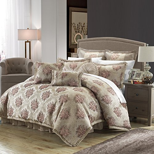 Perfect Home 9 Piece Clermont Decorator Upholstery Quality Jacquard Floral Fabric Complete Master Bedroom Comforter Set and pillows Ensemble, Queen, Taupe