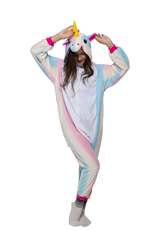 NEWPJS Unisex Adult Unicorn Onesies Pajamas Cosplay Costumes Halloween Animal Outfit