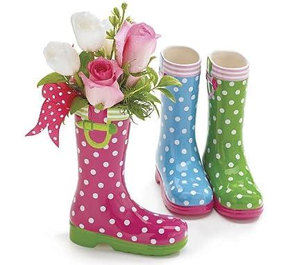 Amazon Com Set Of 3 Spring Colored Rain Boot Vases Garden Outdoor
