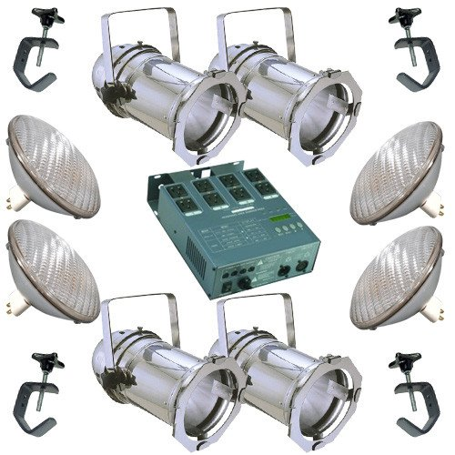 (4 Silver PAR CAN 64 500w PAR64 NSP Bulbs C-Clamp Dimmer )