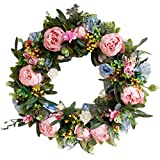 Pauwer 22' Large Pink Peony Flower Wreath with Blue Hydrangeas Artificial Floral Door Wreath Realistic Spring Wreath for Front Door Wedding Window Wall Home Decor (22' Mixed Floral)